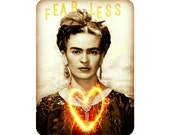 Frida Kahlo Art Print Fearless Quote Original Photomontage Signed New Year Mixed Media Collage Heart Sparklers Fireworks