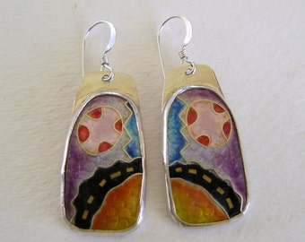 Enamel cloisonne earrings.