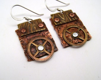 Steampunk jewelry mixed  metal copper and brass earrings. Steampunk jewelry.