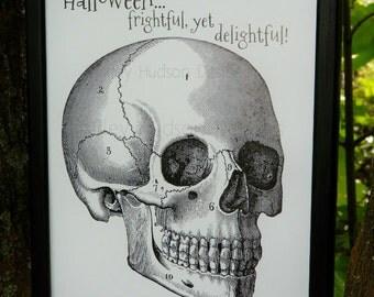 Halloween Skull frightful sign digital print -  black uprint words printable paper old pdf 8 x 10 frame saying