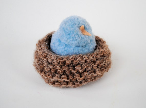 Vintage Blue Bird Baby In Nest Wool Pompom By