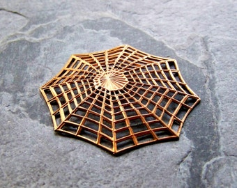 Spider Web, Brass Stamping, Rare Stamping, Brass Finding, Vintage Pendant, 1 Piece