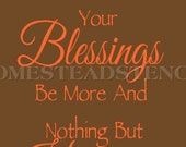 PRIMITIVE STENCIL -Item 5892 K - May your troubles be less and your blessings be more  - Make Your Sign - Clear 5Mil Mylar