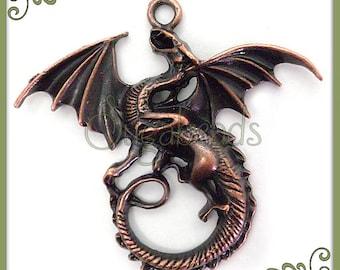 2 Larger Sized Antiqued Copper Dragon Pendants 45mm