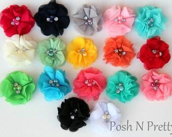 "2"" Mini Crinkled Blossom Pearl and Rhinestone Flower - Set of 5 - PICK COLORS"