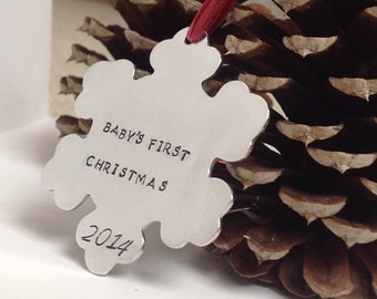 First Christmas- Personalized stamped aluminum Christmas ornament, snowflake, new baby gift, baby's first christmas, wedding shower