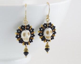 Beaded Small Calavera Earrings/ Ivory Skull/ Black Crystals/ Gold-filled / Elegant/ Matte Black/ Night/ Noir - - - Raeka