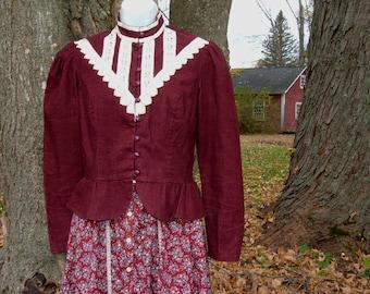 Vintage S Jessica's Gunnies Gunne Peplum Jacket Cranberry Victorian Charm Steampunk