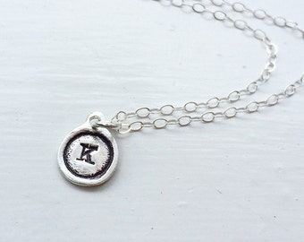 Handmade Mini Initial Pendant in Fine Silver on Sterling Chain