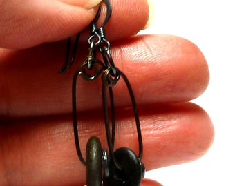 Beach Stone Earring Pair Oxidized Sterling Silver Industrial Style Black Pebbles Center Drilled Pair River Rocks Talisman REVOLUTION