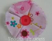 SALE Light Pink Fabric Flower Clippie - No Slip Hair Bow Clip