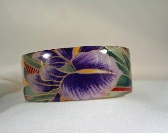 SALE BRACELET-Purple Iris Cuff Bracelet (CCB176)