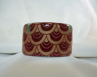 Gold and Burgundy Wide Cuff Bracelet, Resin, Accessory(CCB194)