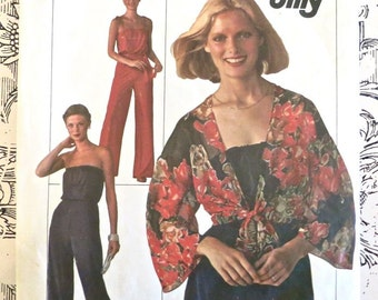 Vintage 1970s Womens Jumpsuit Pattern with Tie-Front Jacket - Simplicity 7748