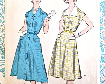 Vintage 1950s Wide Collar Dress Pattern with Flared Skirt - Advance 8629