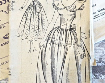 Vintage 1940s Girls Full Skirt Dress Pattern with Puff Sleeves and Wide Collar - New Style 2485