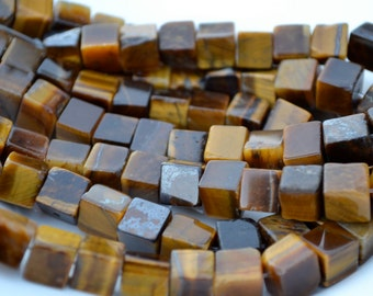Brown Tigerseye 8mm Cube Beads   20