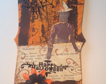 Halloween Witch ornament decoration library card
