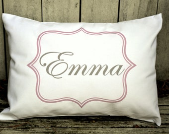 Personalized baby pillow, Newborn gift, girls pillow, name pillow, pink and grey baby gift idea, baby shower gift, new baby, welcome baby