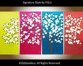 "Original landscape Painting wall art wall hangings wall decor home decor Palette Knife Tree Flowers Wall art ""White Blossom"" by QIQIGallery"