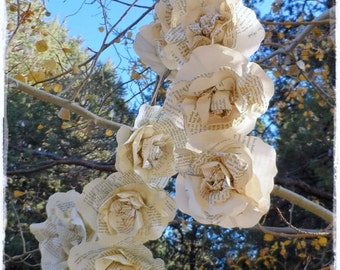 6 ft 18 Roses Swag Garland Paper Flowers Swag Garland Made from Vintage Book Pages Weddings Home Decor Celebrations