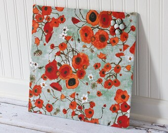 Fabric covered magnet board 16 inch x 16 inch covered in poppies on greenish gray