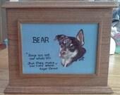 Tiered Pet Memorial Box (cherry) single pet memorial urn pet portrait on hardwood urn custom made pet urn