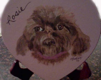 Heart-shaped plaque with pet portrait, heart shaped frame, purple, pink,, portrait on stand,little dog,