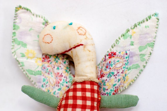Guardian Angel Softie with vintage quilt wings - on sale