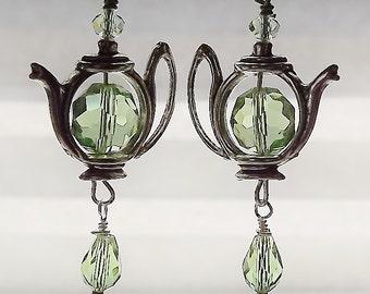 Tea Pot Earrings, Green, Crystal, Silver Earrings