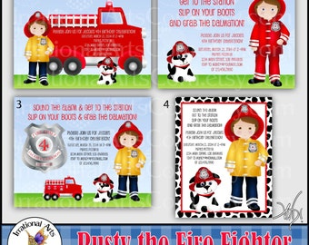Rusty the Fire Fighter Birthday Party Invitation digital file Dalmation puppy hat badge fire extinguisher gauge