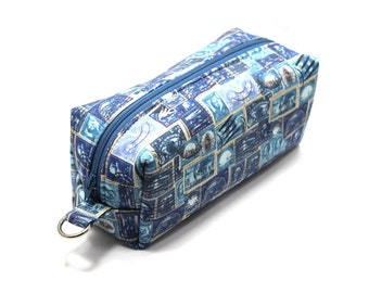 Medium Zipper Box Pouch Project or Travel Case  Blue Stamps