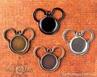 10 DiY Craft Kit ~ Mouse Ears Pendant Setting Bezel ~ 18mm Settings ~ Trays, Crystal Clear FX Glass, Chains, Sample Glaze