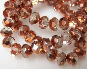 Czech Peach Copper 8x6mm Faceted Fire Polished Glass Rondelle Beads (25) 0583