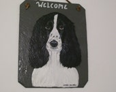 Springer Spaniel (black and white) Welcome Sign