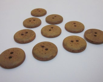 10 Brown Faux Stone Buttons