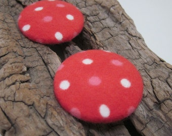 Large Polkadot Brushed Red Cotton Fabric Buttons