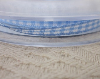 20 metres Sky Blue Gingham Narrow Ribbon