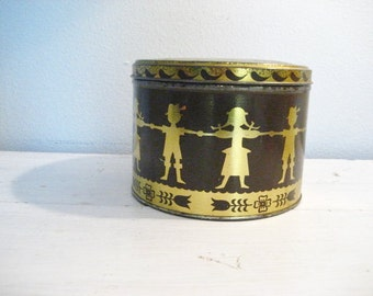Vintage Large Swiss Miss Cocoa Tin with Paper Doll Design