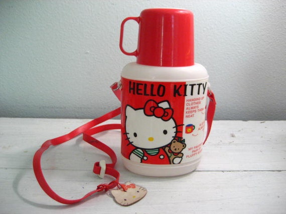 Vintage 1980s Hello Kitty Plastic Thermos with Removeable Cup Lid and Carrying Strap- Made in Japan