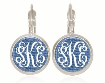 Monogram Earrings, Glass Dome, Drop Style, Denim Earrings, Personalized Gift, Monogrammed Earrings (Denim Monogram - Drop Style Earrings)
