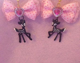 Fawn Deer Pink Bow Earrings