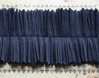 Vintage Dennison Black Halloween Handmade Crepe Paper Ruffle Trim 2 Inches Wide