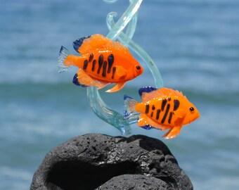 Hawaiian Flame Angelfish glass sculpture