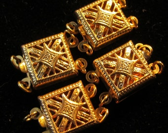 4 Gold Toned Filigree Clasps