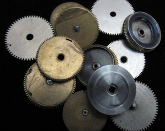 12 Antique Vintage Clock Watch Parts Cogs Gears Assemblage Steampunk Industrial Art Goodies CG 37