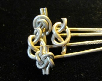 4 Vintage French Knot Sterling Silver Sticks Pin AF 67