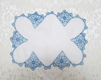 Antique White Blue Doily Vintage Linens Doilies Placemat Tray Cloth Blue Organdy Sheer Organdie Embroidery Cutwork