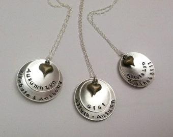 Hammered Name Necklace with Antique Gold Heart Charm
