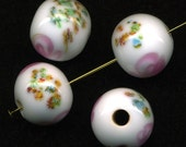Vintage 14mm Millefiori Beads White with Rose Pink Swirls Made in Japan